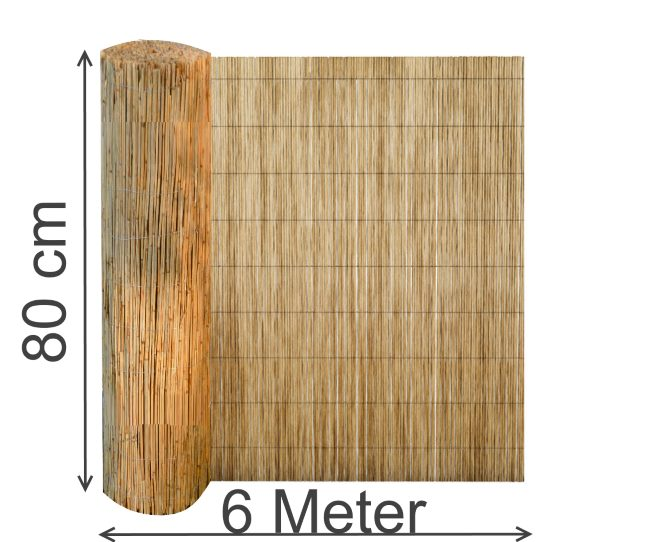schilfmatte 80 x 600 cm sichtschutz schilfrohrmatte windschutz strohmatte schilf. Black Bedroom Furniture Sets. Home Design Ideas